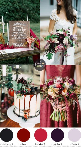 October wedding colours { Auburn + Blackberry + eggplant + cardinal + thistle } Fab Mood #weddingcolors #wedingtheme