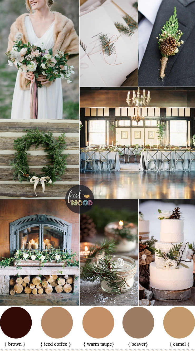 Rustic Winter Wedding in shades of neutral { Warm Taupe + Brown + Camel }