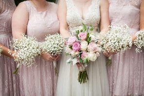 Blush bridesmaids + A Pretty Floral and lawn games for a Charming and Love filled Wedding in Canada | Fab Mood #bridesmaids #blush
