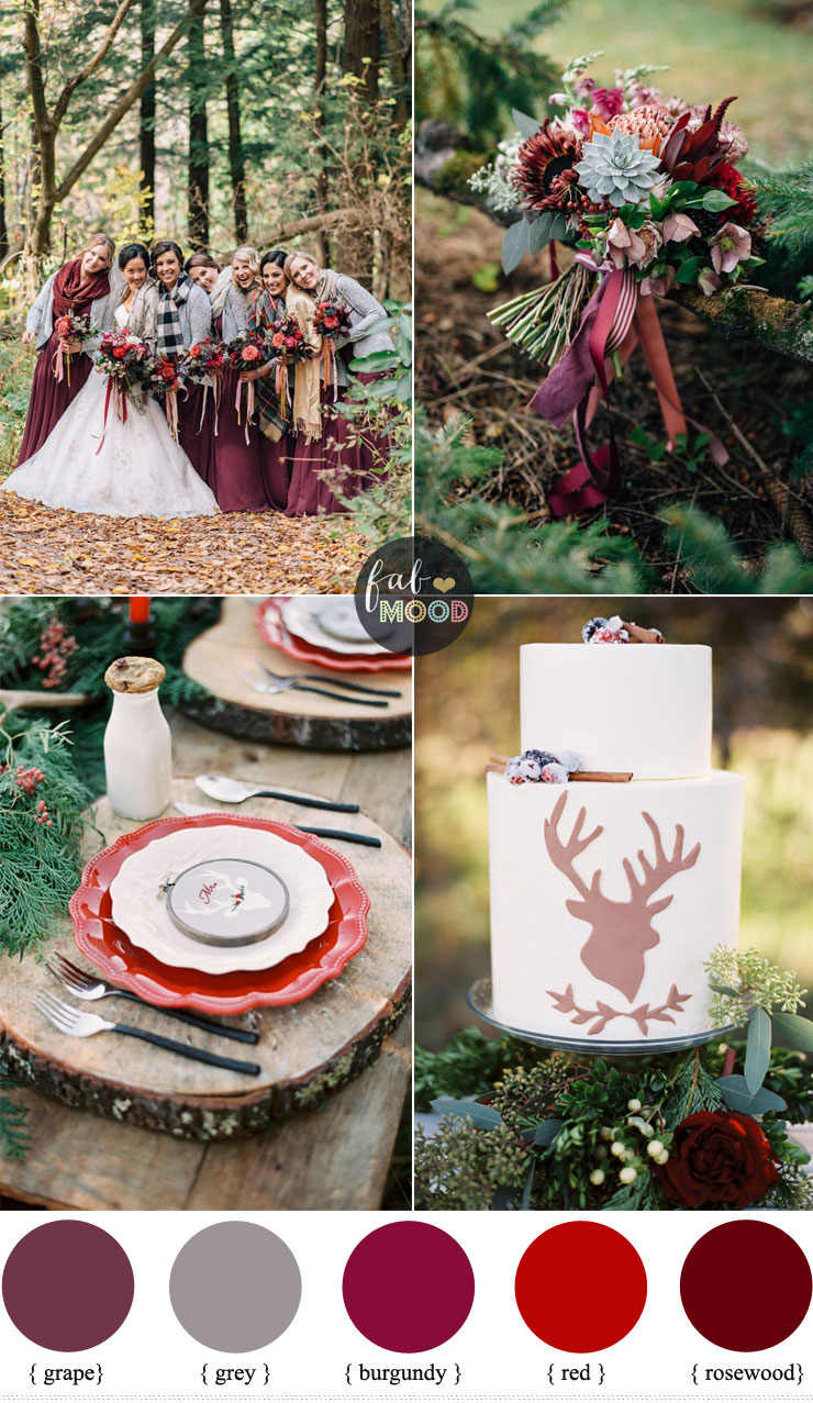 Christmas Woodland Wedding Theme Burgundy Grape Grey Red Rosewood