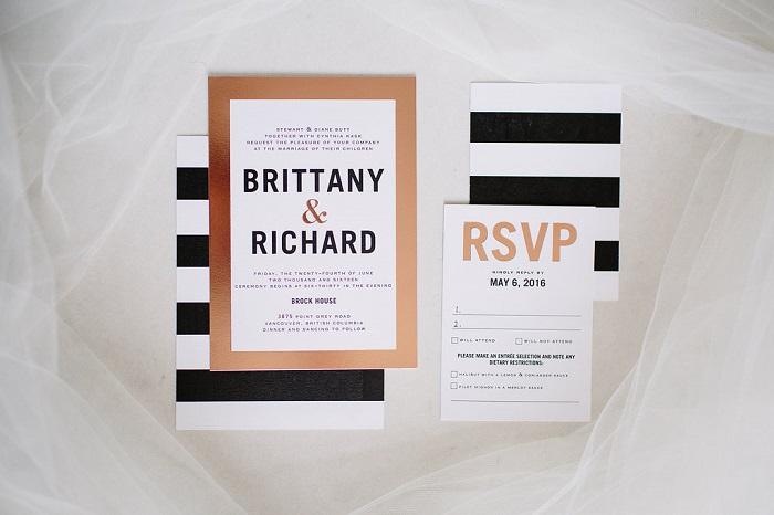 Modern Black White And Gold Striped Wedding Invitations For Garden Fabmood Weddinginvitation Blackandwhite Blackwhiteweddinginvites