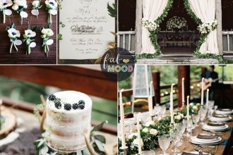Rustic December Wedding in Charcoal + green + muted gold Wedding Colours | fabmood.com #winter