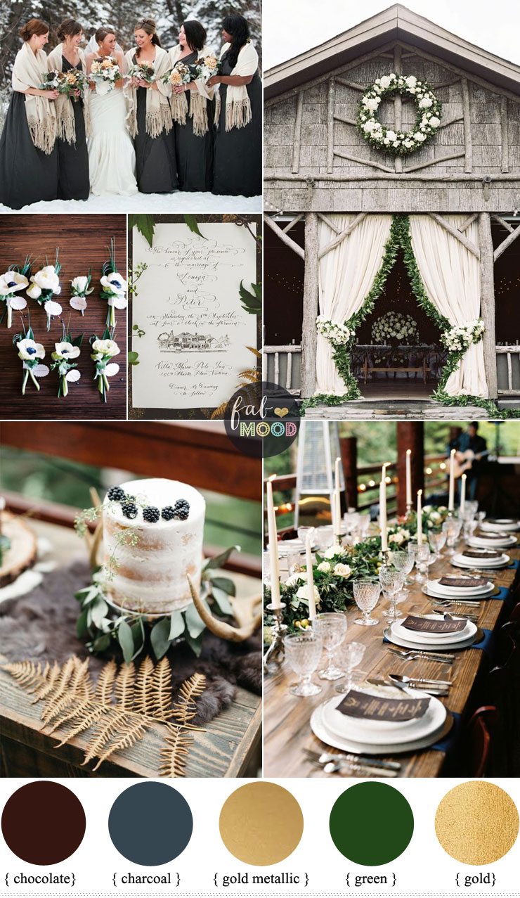 Rustic December Wedding In Charcoal Green Muted Gold Winter Colours Fabmood