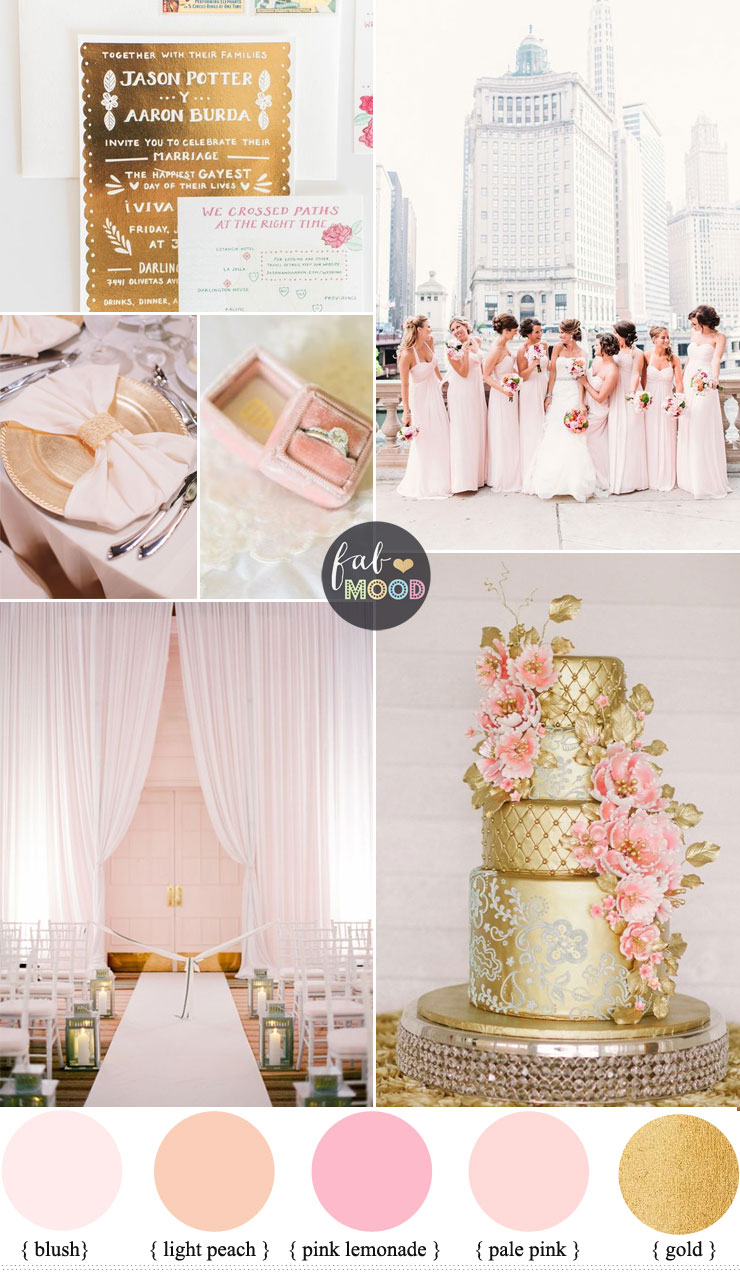 Glamorous Ballroom Wedding Shades Of Blush Pink And Gold Colour Theme Fab Mood