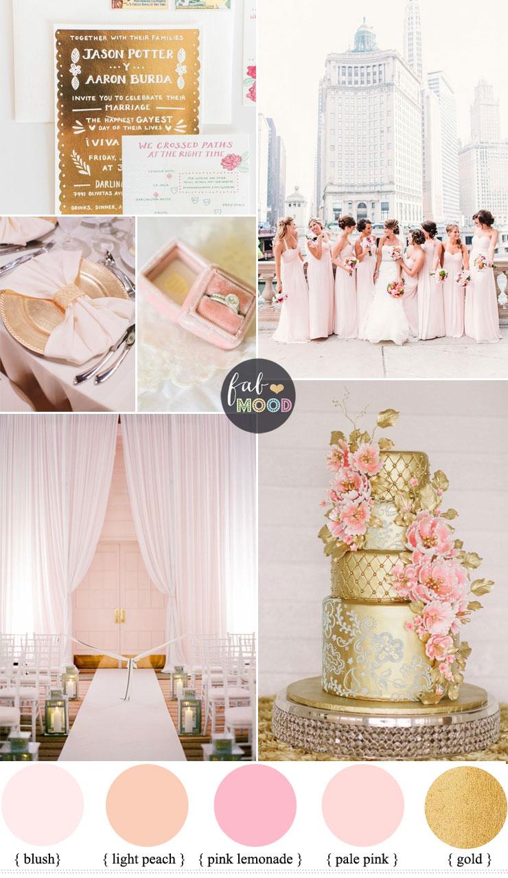 Glamorous Ballroom Wedding Shades Of Blush Pink And Gold Wedding Colour Theme