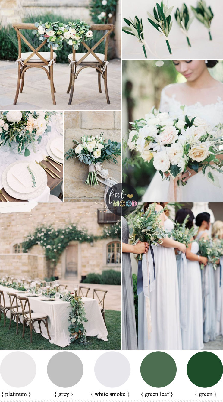 Green wedding colour schemes grey platinum white smoke for Wedding color scheme ideas