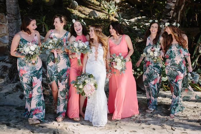 Bride and bridesmaid dresses in printed dresses + coral dresses | Fabmood.com