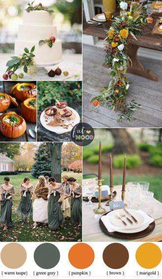 Warm Autumn Color Palette in warm spicy tones + green grey   Fab Mood #autumnwedding #spicytones