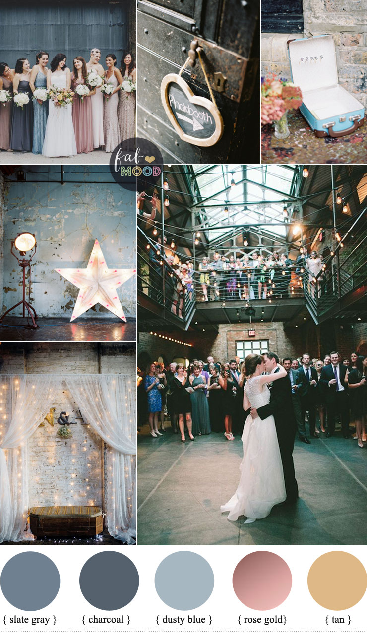 eclectic warehouse wedding inspiration mismatched bridesmaid dresses