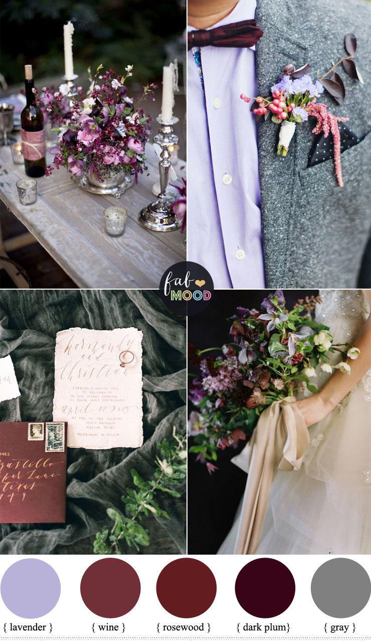 Plum and wine wedding colors + grey +lavender | fabmood.com