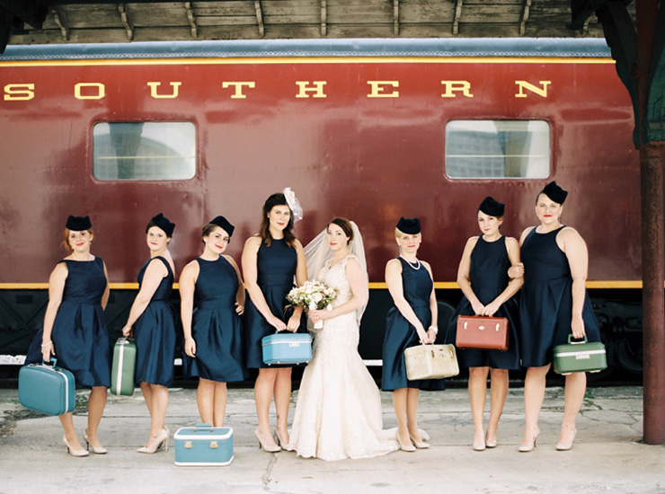 Travel-themed wedding at the Historic Southern Railway Station with blue and gold wedding colour theme | fabmood.com