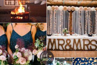 Fall Farm Style Wedding with long sparkly navy blue bridesmaid dresses | fabmood.com #farmwedding #long #sparklybridesmaiddresses