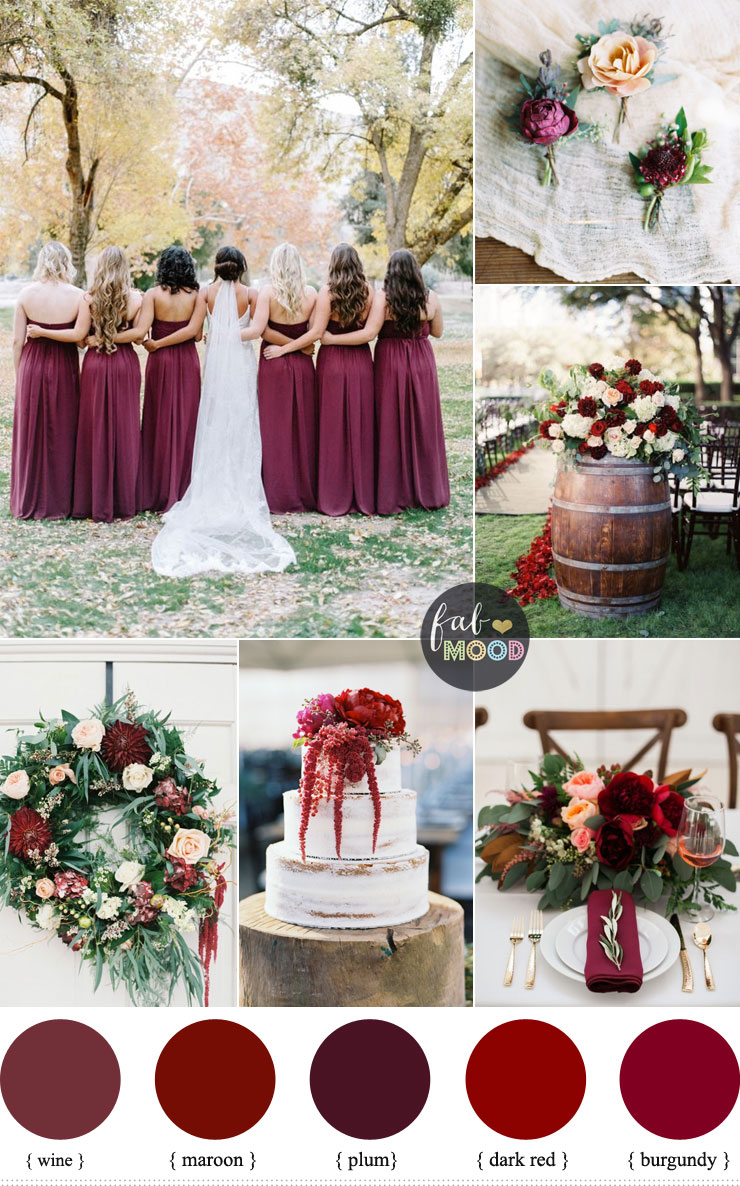 Burgundy Wedding Theme Shades Of Color Scheme Fabmood