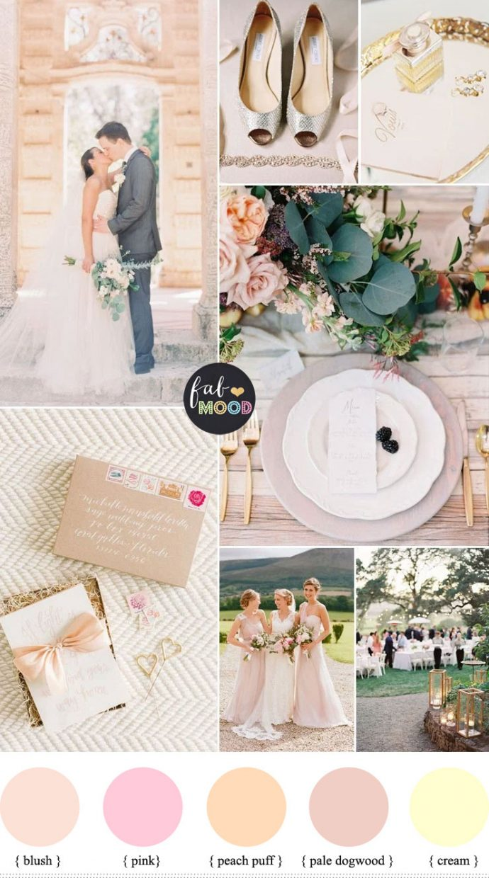 Gold cream pink wedding