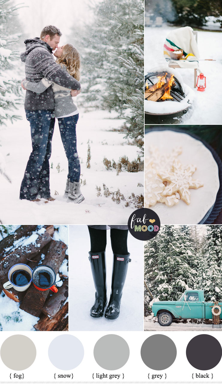 Winter picnic Engagement in shades of grey | fabmood.com #winterwedding #engagement #weddingtheme #engaged #snow