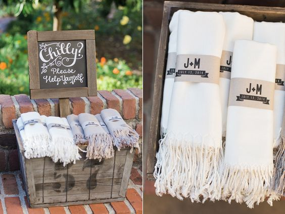 blanket wedding favors, throw wedding favors, winter wedding favors