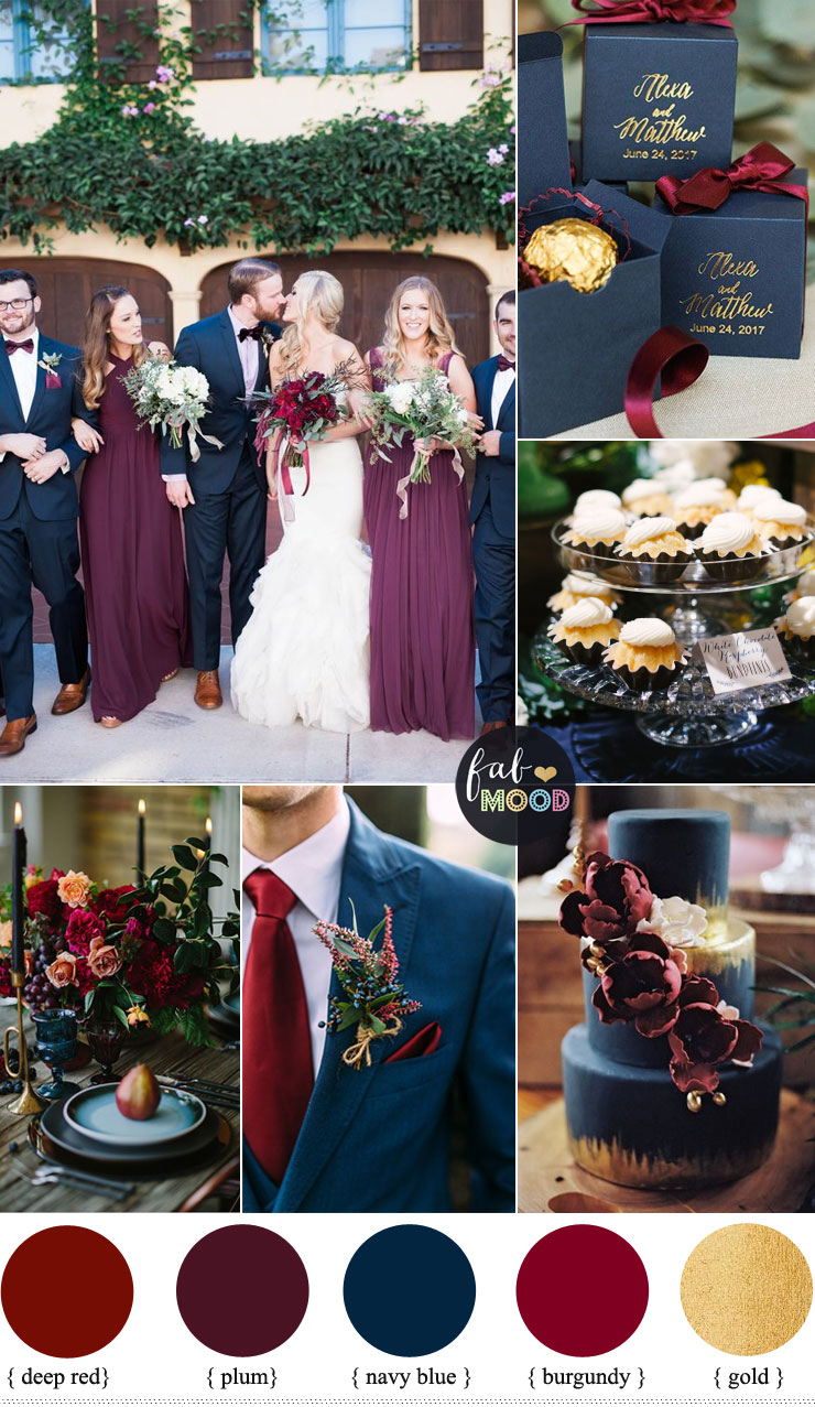 Plum Burgundy And Navy Blue Wedding With Gold Accents For