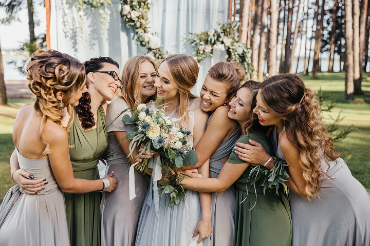 Misty Gray And Sage Green Bridesmaid Dresses Rustic Boho