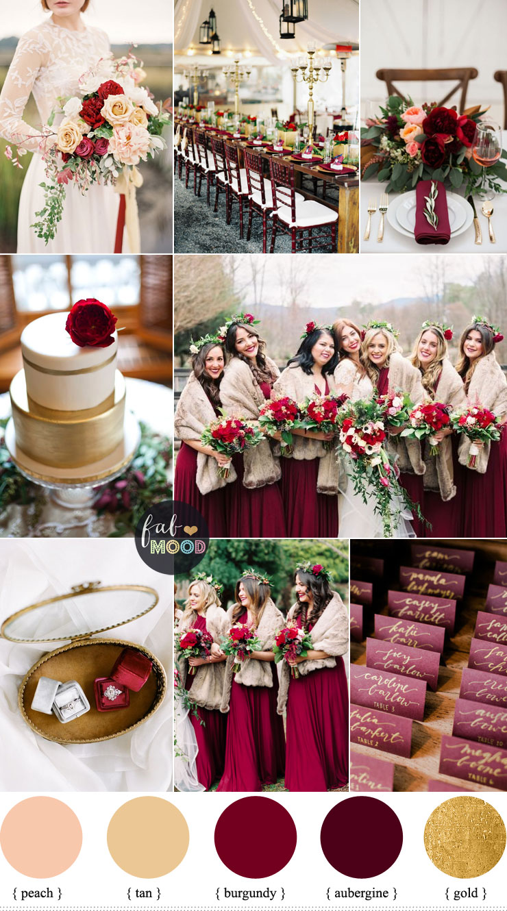 Aubergine And Burgundy For Rustic Elegant Winter Wedding Inspiration Board Fabmood Winterwedding