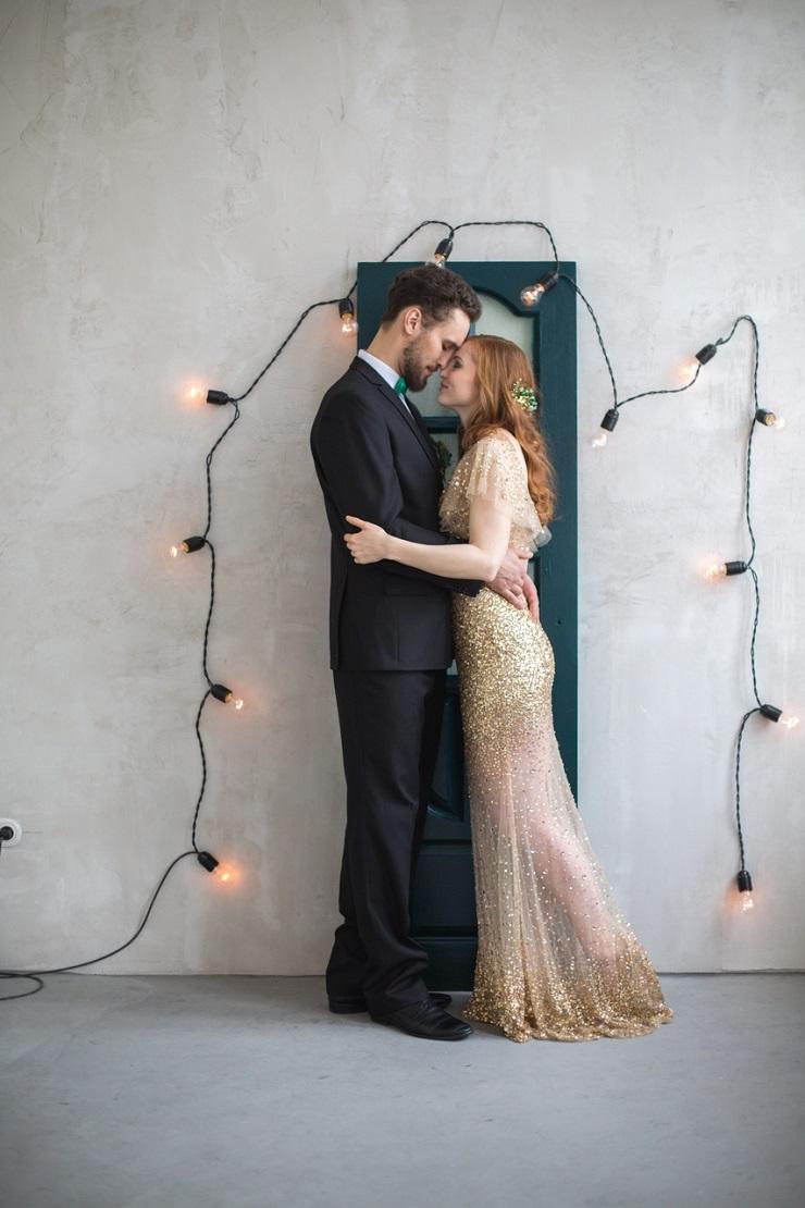 Gold and Emerald wedding - Gold Wedding Dress for An Emerald Fairytale Wedding Styled Shoot