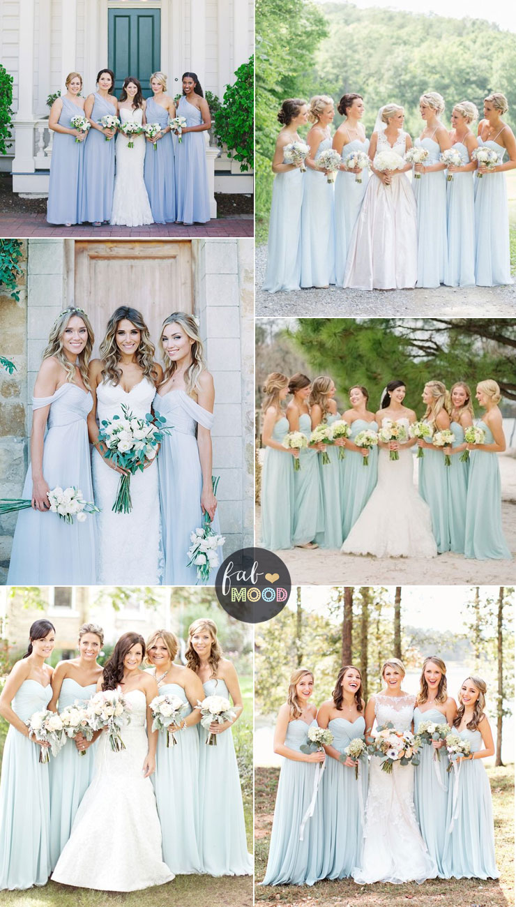 Pastel Bridesmaid Dresses Classic Uniformity - shades of pale blue | fabmood.com #pastel #wedding #weddingcolor #pastelweddings #springwedding
