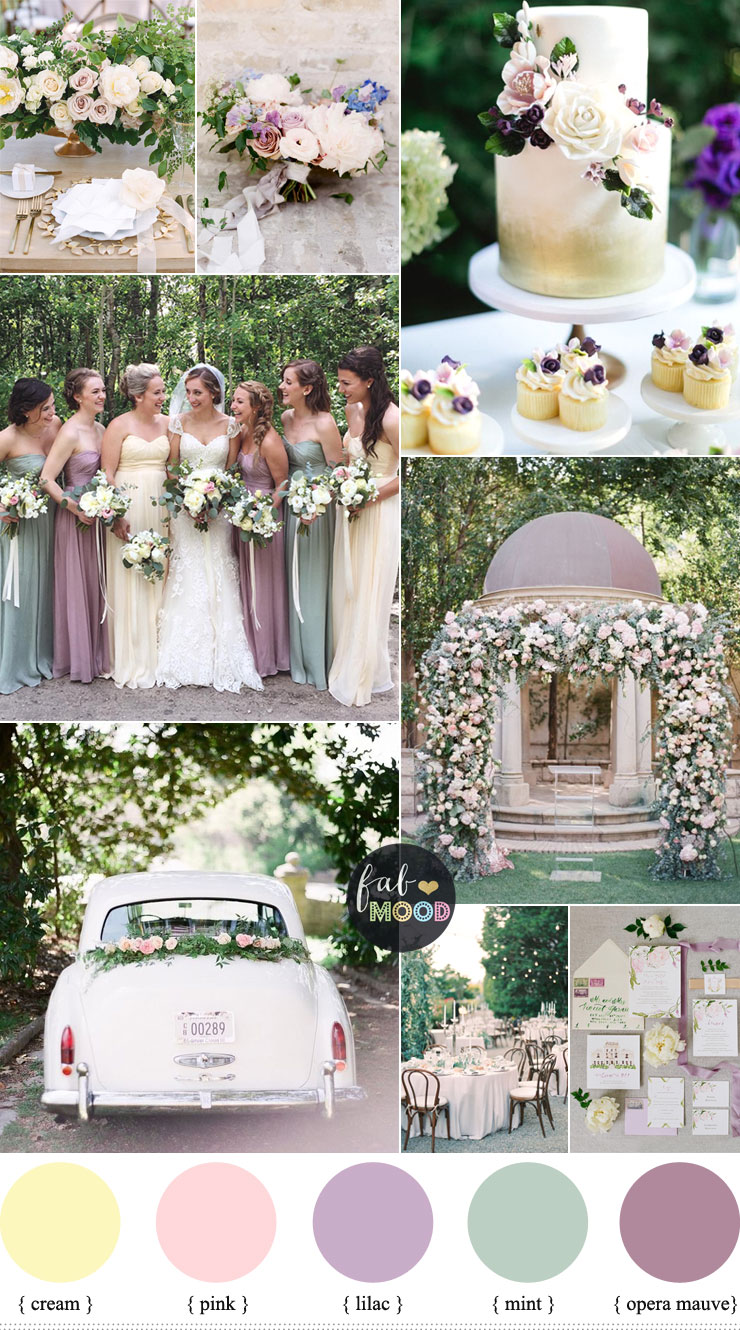 Pastel Wedding Colour Palette CreamLilacMauve And Mint Green Fabmood