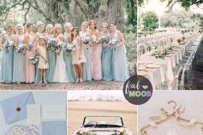 Pastel wedding colour palette { periwinkle, ivory, peach, mint & light blue } fabmood.com #weddingcolour #wedding #weddingpalette #weddingtheme #springwedding