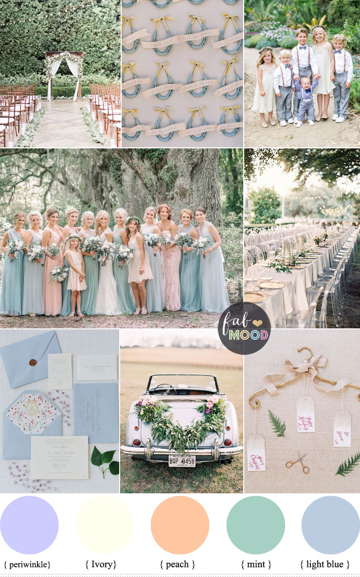 Pastel wedding colour palette { periwinkle, ivory, peach, mint & light blue } fabmood.com #weddingcolour #wedding #weddingpalette #weddingtheme #springwedding