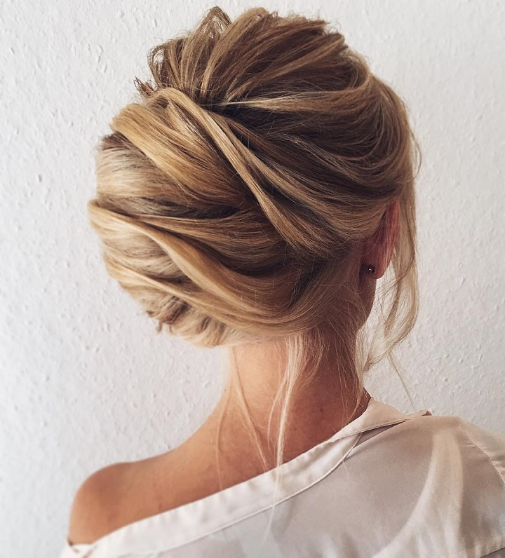Pretty Chignon Hairstyle For Long Hair Side Parted Chignon Wedding