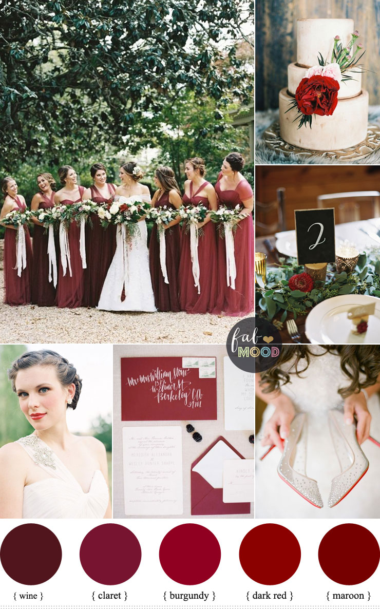 Shades Of Red Wedding Colours Burgundy Claret Dark Red