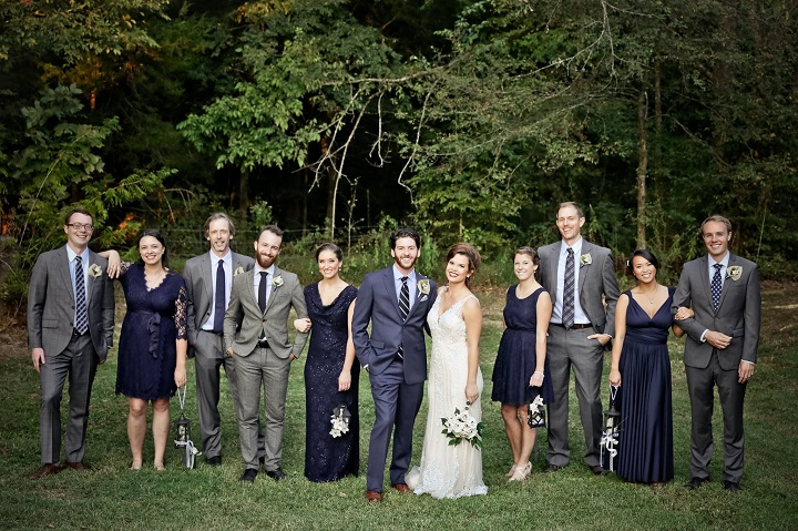 Navy blue and gray wedding party | fabmood.com #navyblue #navybluewedding #graygroomsmen #navybluebridesmaiddress #bridesmaiddresses #literarywedding