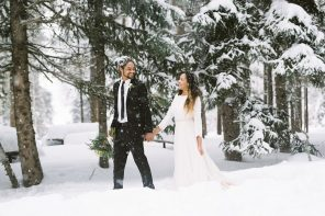 "alt=""Intimate natural snowy winter elopement in Utah 