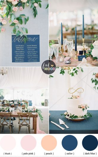 Blush ,Peach and dark blue wedding for an Elegant, Romantic and Organic Wedding Ideas | fabmood.com #blue #darkblue #peach #elegantwedding #weddinginspiration #weddingtrend #organicwedding