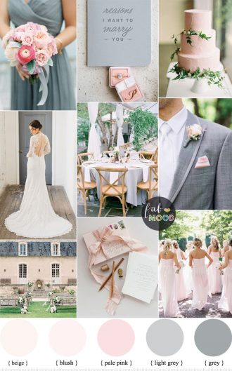 Elegant blush pink and soft gray | fabmood.com #weddingcolor #blush #graywedding #elegant #bride #weddinginspiration