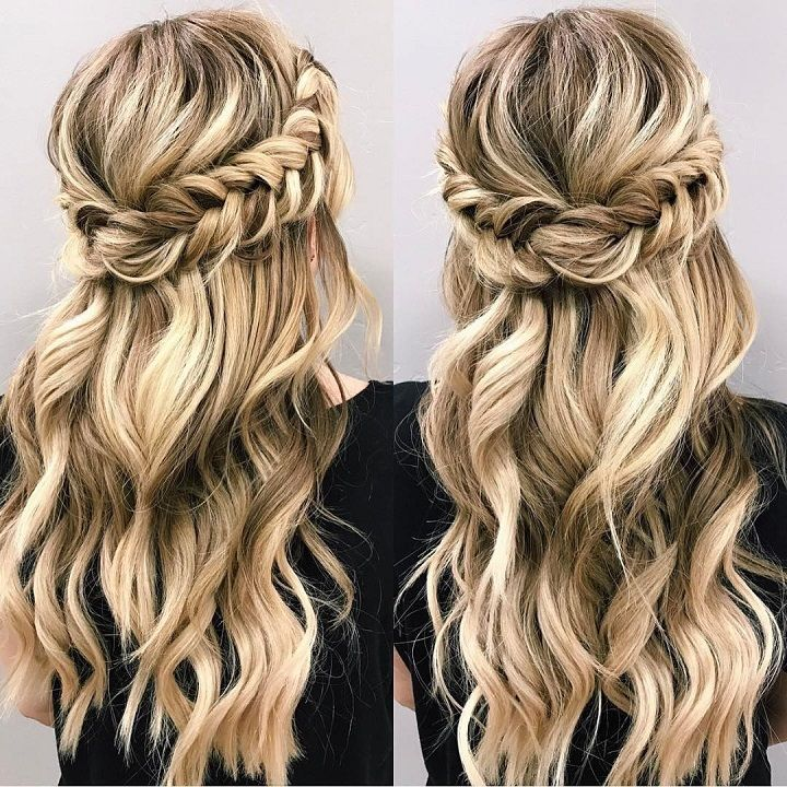 Half up and half down hairstyle #weddinghair #upstyle #halfuphalfdown #bridalhair #weddinghairstyle #halfdown #braidhair #crowbraid
