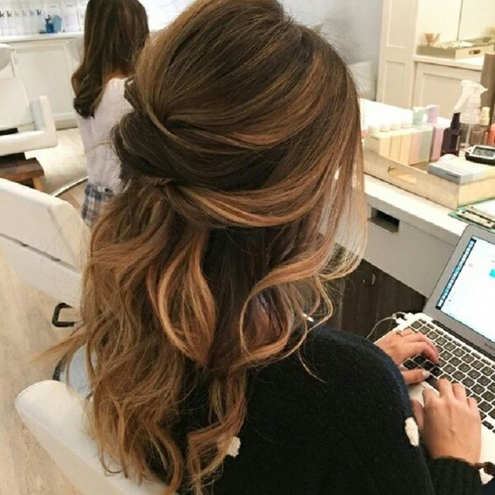 Partial Updo Wavy Wedding Hairstyle Half Up Half Down Wedding