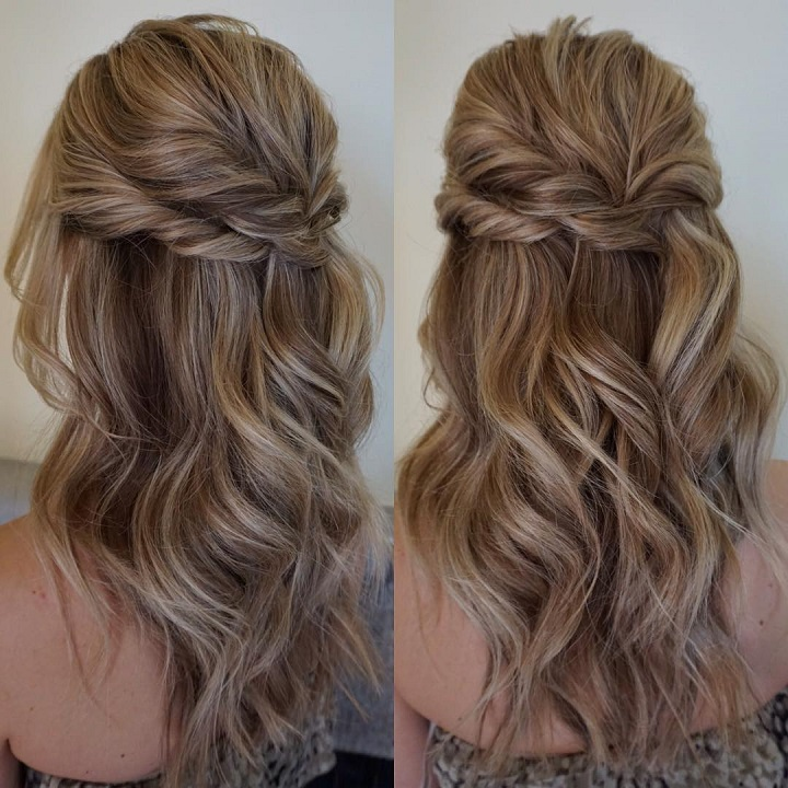 Half Up Half Down Wedding Hairstyles: Partial Updo Wedding Hairstyle