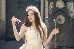 Soft Peach Wedding Dress for A Barcelona Fairytale Bridal Styled Shoot | fabmood.com #weddingdress #fairytalewedding #fairytale #peachwedding #weddinginspiration #filmwedding