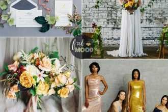 Industrial and contemporary wedding look in shades of Yellow and green + sequined bridesmaids dresses | fabmood.com #sequin #bridesmaiddresses #sequinbridesmaids #industrialwedding #yellowwedding #greenwedding