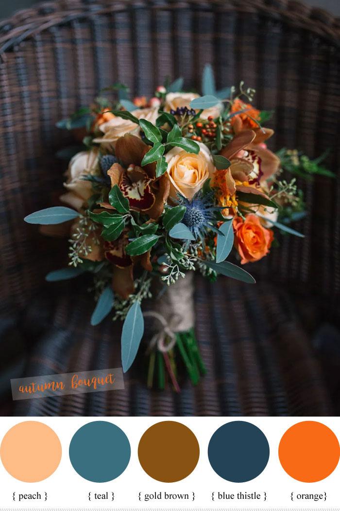 Blue Peach Teal And Orange Wedding Bouquet For Fall Fabmood Weddingbouquet