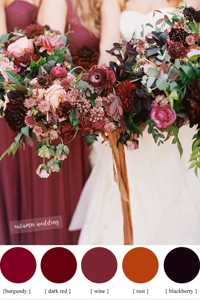 Burgundy dark red rust and wine fall wedding color schemes