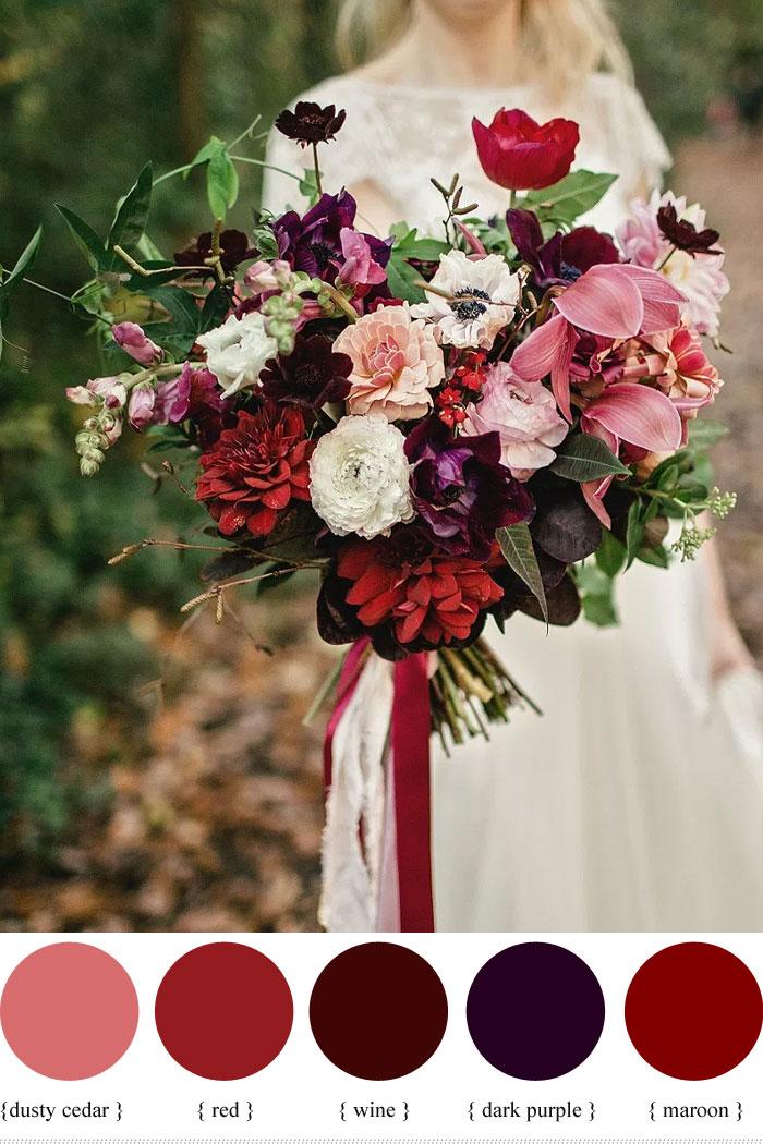 Dark Purple And Shades Of Red Autumn Wedding Bouquet