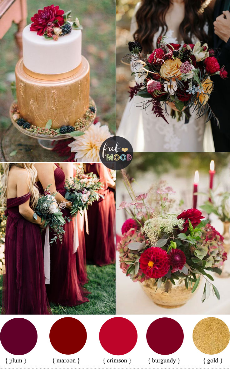 Maroon And Gold Wedding Cake