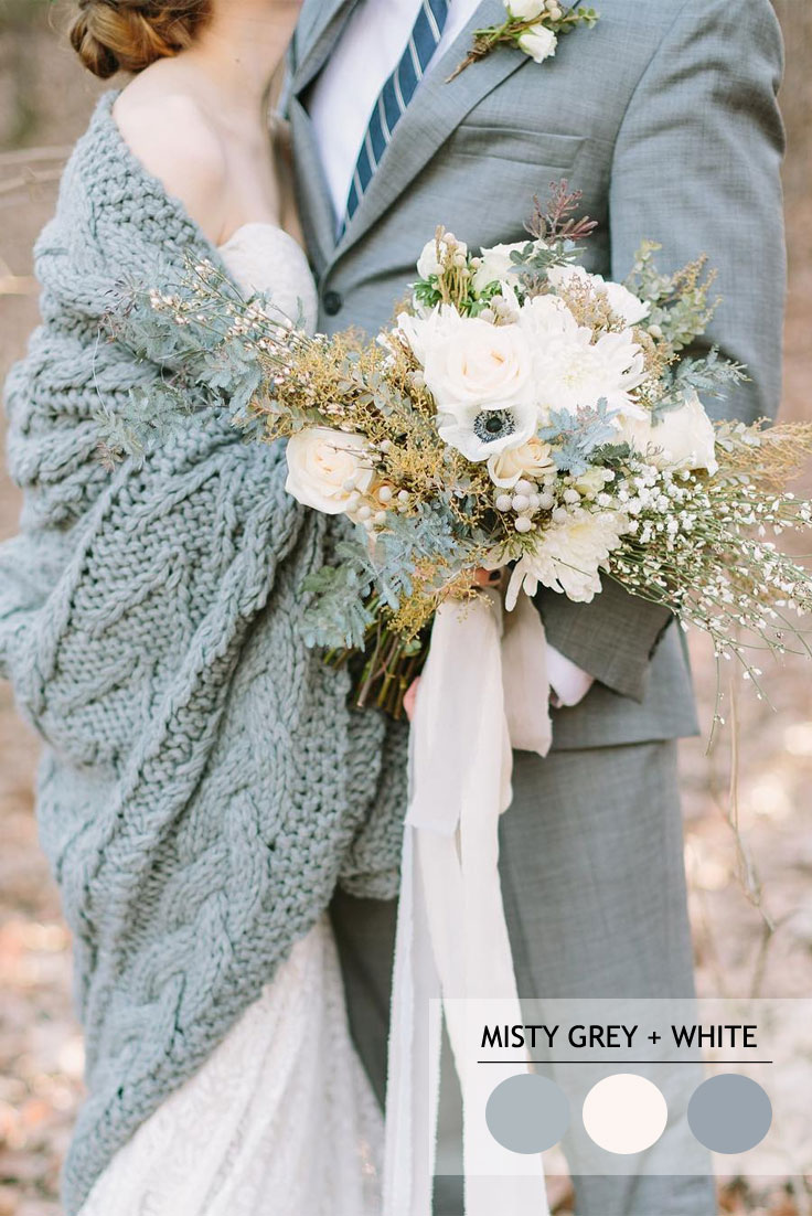Misty grey and white winter wedding colour inspiration | fabmood.com