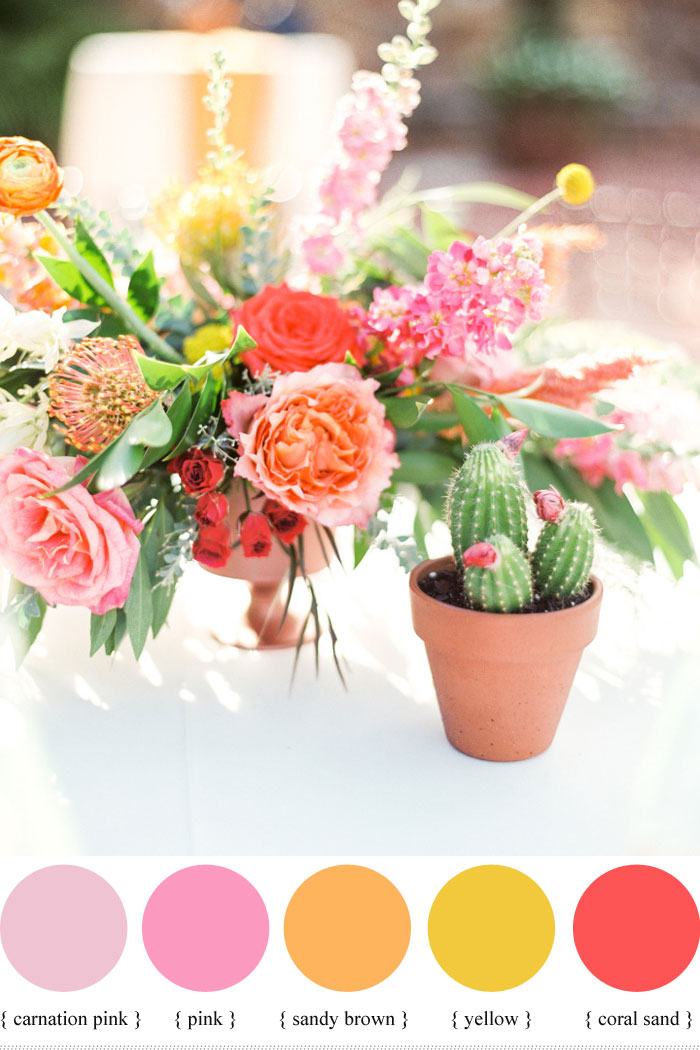 Bright and colourful summer wedding colour ideas - sorbet hues | fabmood.com #weddingcolor #summerwedding #summer #pink #brightpink #centerpieces