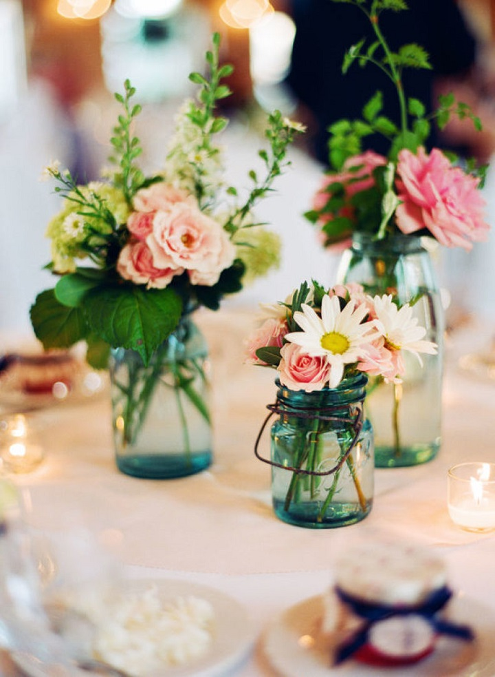 Mason Jar Centerpieces { Ideas for wedding reception centerpieces ...