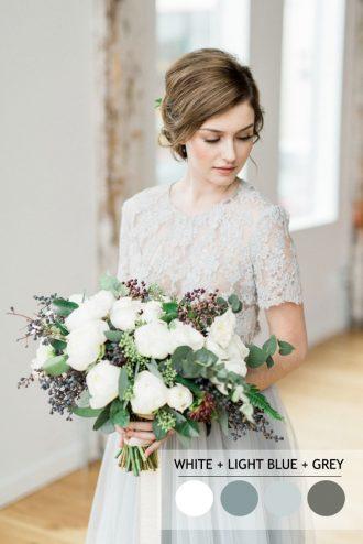 Light blue + grey and white winter wedding colour palette | fabmood.com #wedding #winterwedding #weddingcolor #wintercolor #weddinginspiration
