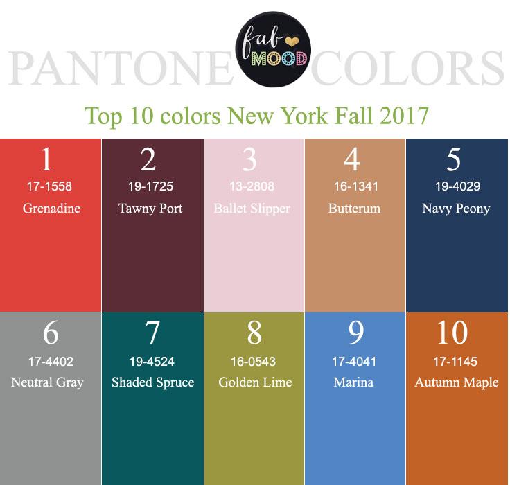 Pantone Fall 2017 Color Palettes New York Amp London Color
