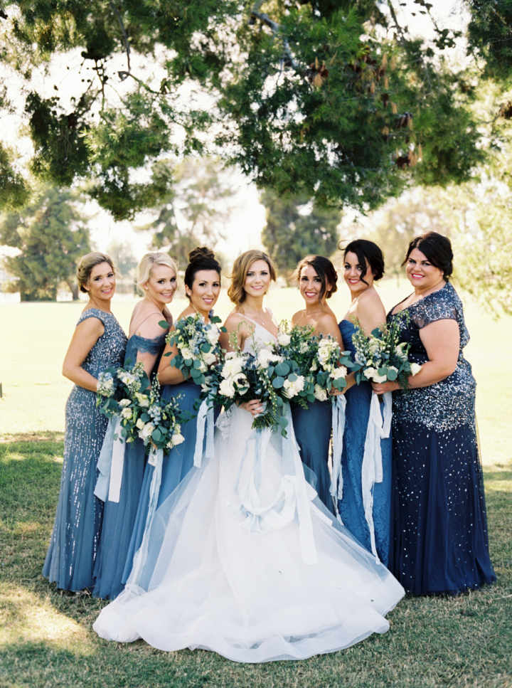 Mix and matched bridesmaid dresses | Tradtional romantic blue hued wedding | something blue wedding theme | fabmood.com #wedding #bluewedding #blueweddingtheme #romanticwedding #bluebridesmaiddresses #mixandmatchbridesmaiddresses