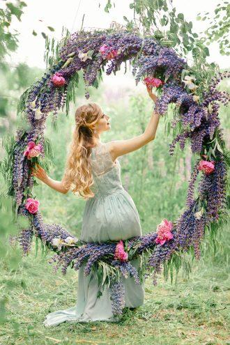 Bluebell Indigo Violet for A Wedding Anniversary Filled with Greenery Giant Wreath | fabmood.com #giantwreath #weddingwreath #bluebell #indigowedding #outdoorwedding #weddinginspiration